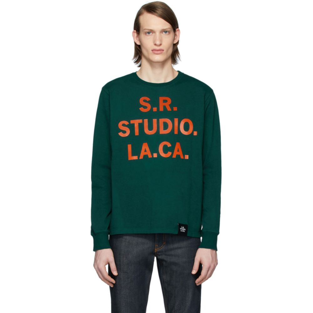 S.R. スタジオ. LA. CA. S.R. STUDIO. LA. CA. メンズ 長袖Tシャツ トップス【Green S.R.S. Logo & Vampire Sunrise Basic Long Sleeve T-Shirt】Pine grove