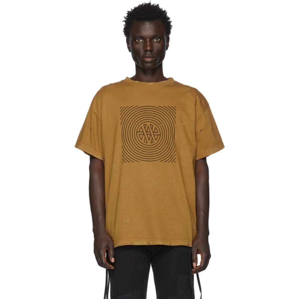 ヴァイナー アーティクルズ Vyner Articles メンズ Tシャツ トップス【Tan Distressed Trance Vision T-Shirt】Brown