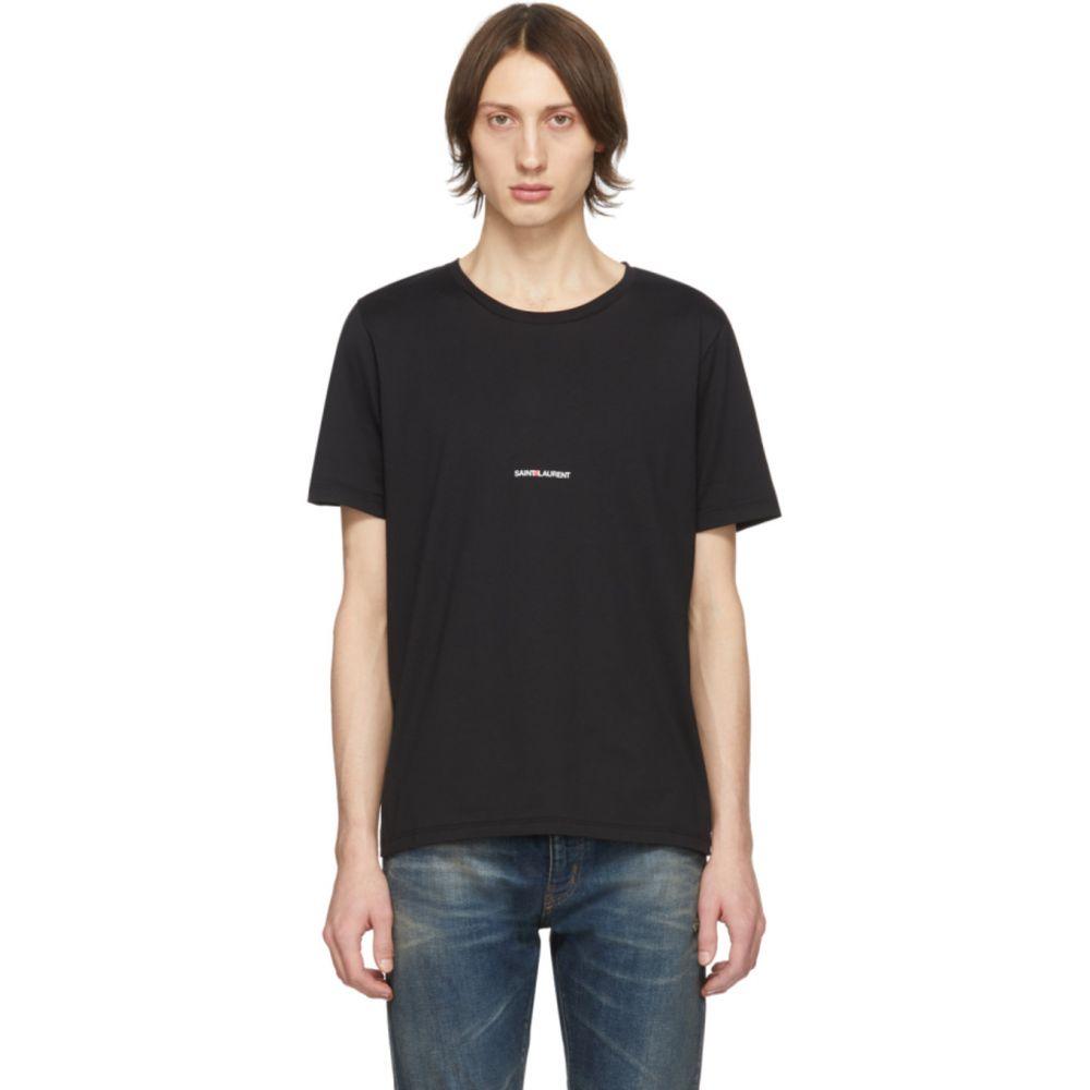 イヴ サンローラン Saint Laurent メンズ Tシャツ トップス【Black Logo T-Shirt】Black