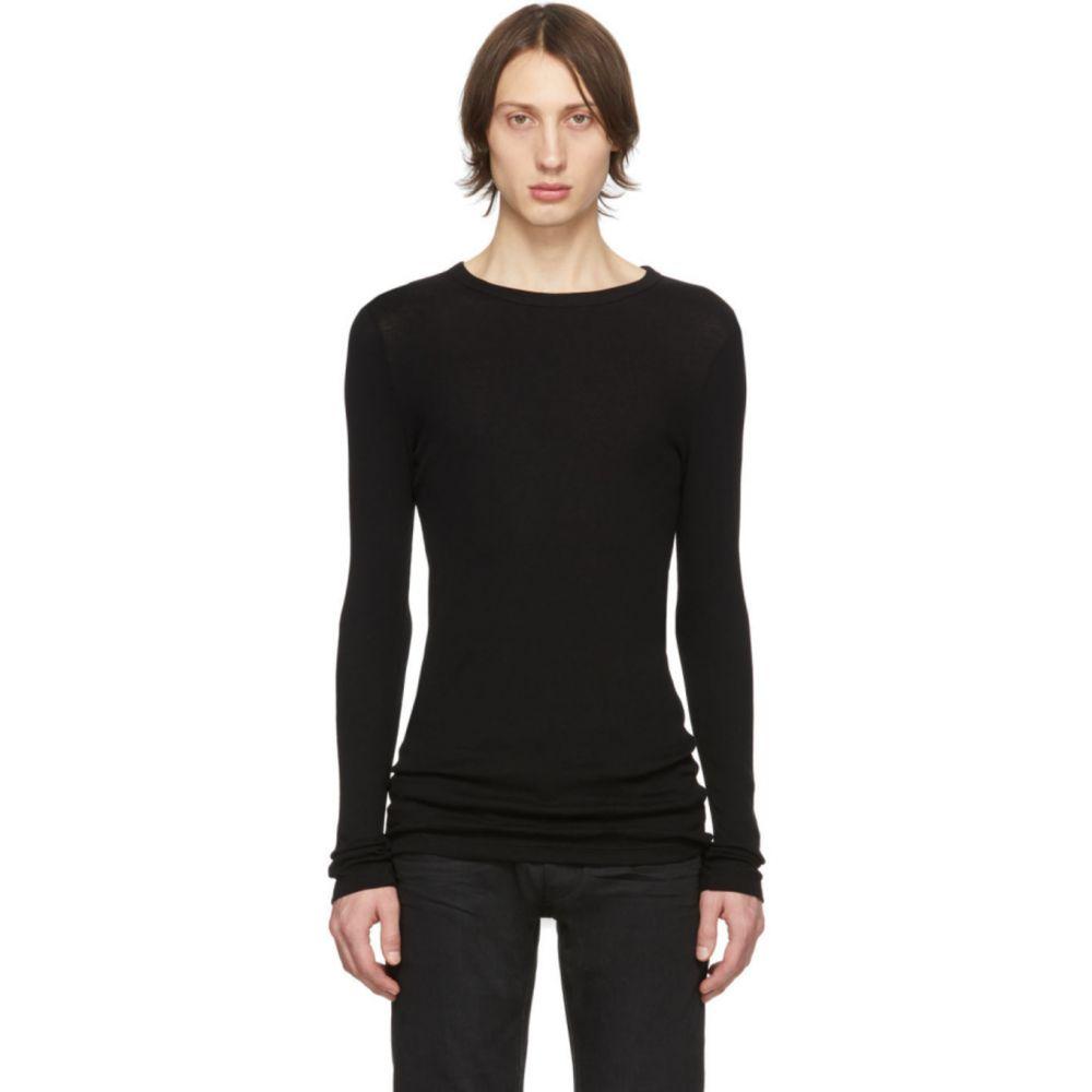 イヴ サンローラン Saint Laurent メンズ Tシャツ トップス【Black Ribbed Jersey T-Shirt】Black