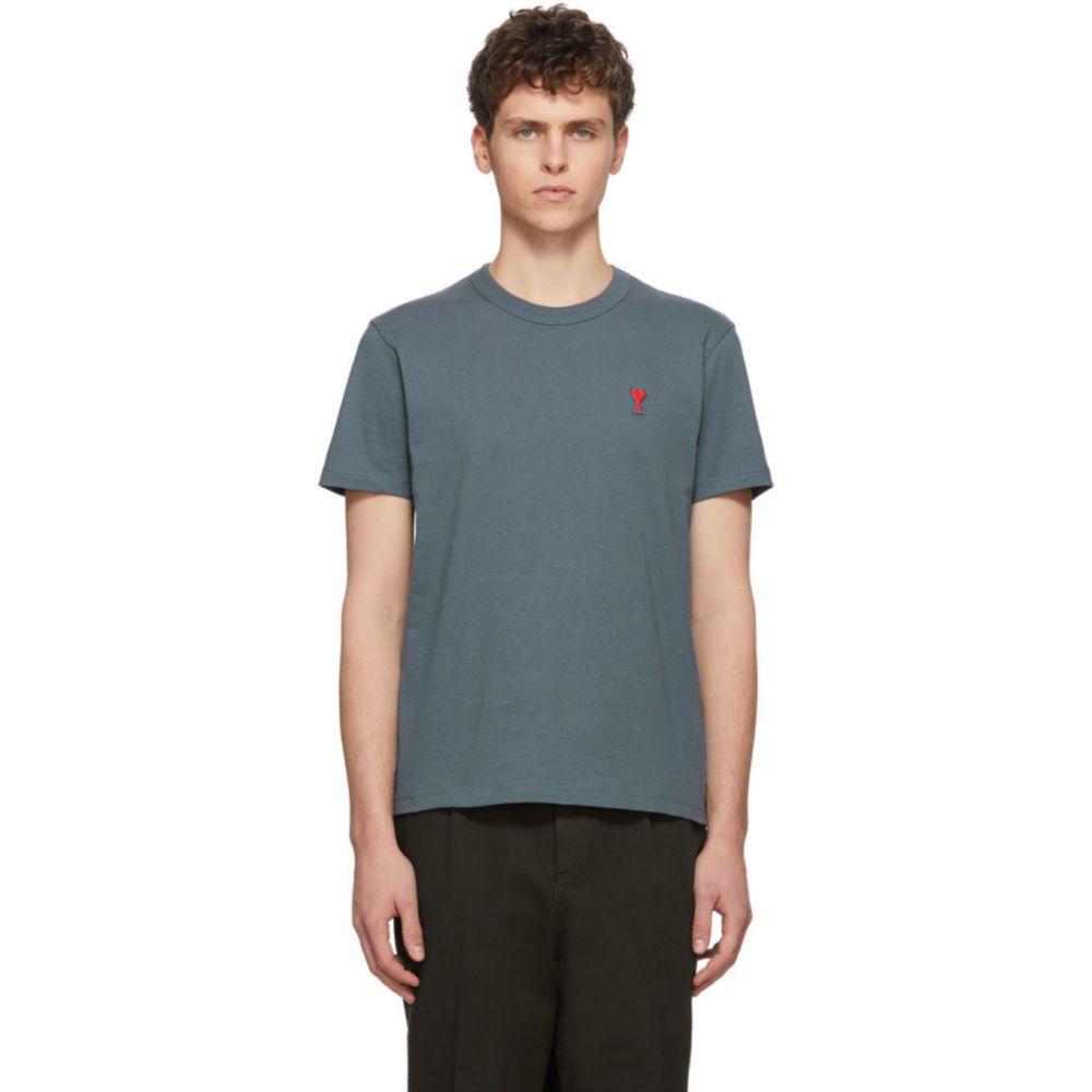 アミアレクサンドルマテュッシ AMI Alexandre Mattiussi メンズ Tシャツ トップス【Blue Ami De Coeur T-Shirt】Bleu acier