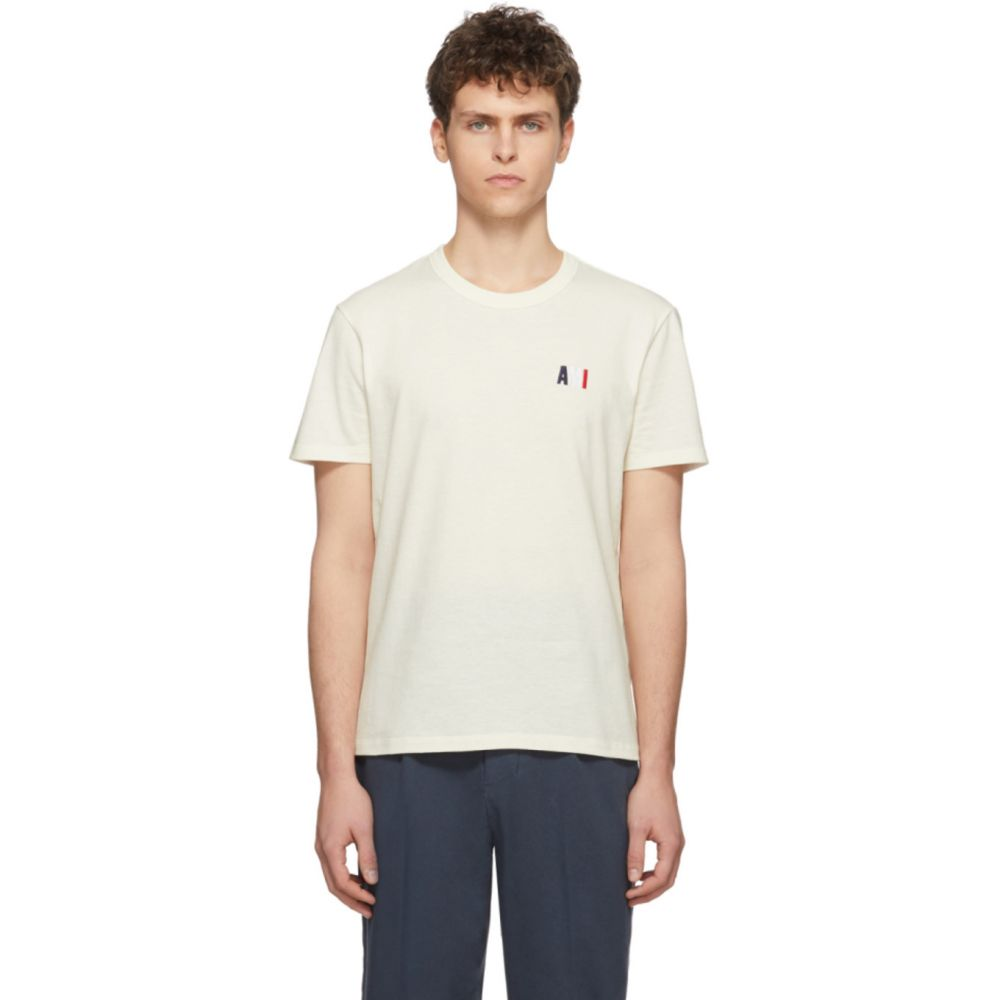 アミアレクサンドルマテュッシ AMI Alexandre Mattiussi メンズ Tシャツ トップス【Off-White Embroidered Tricolor Logo T-Shirt】Ecru