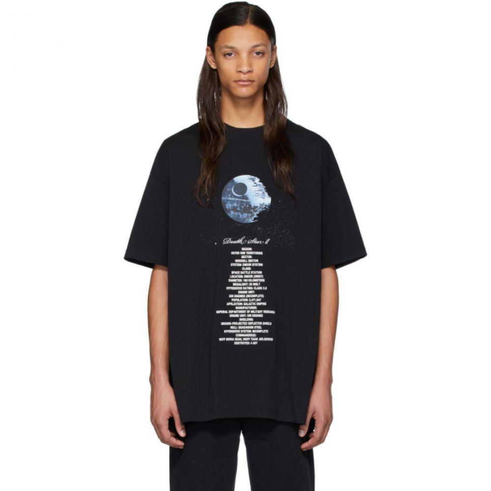 ヴェトモン VETEMENTS メンズ Tシャツ トップス【Black STAR WARS Edition Death Star Episode VI T-Shirt】Black/White