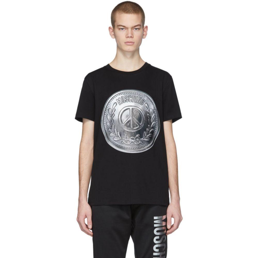 モスキーノ Moschino メンズ Tシャツ トップス【Black Silver Coin T-Shirt】Black