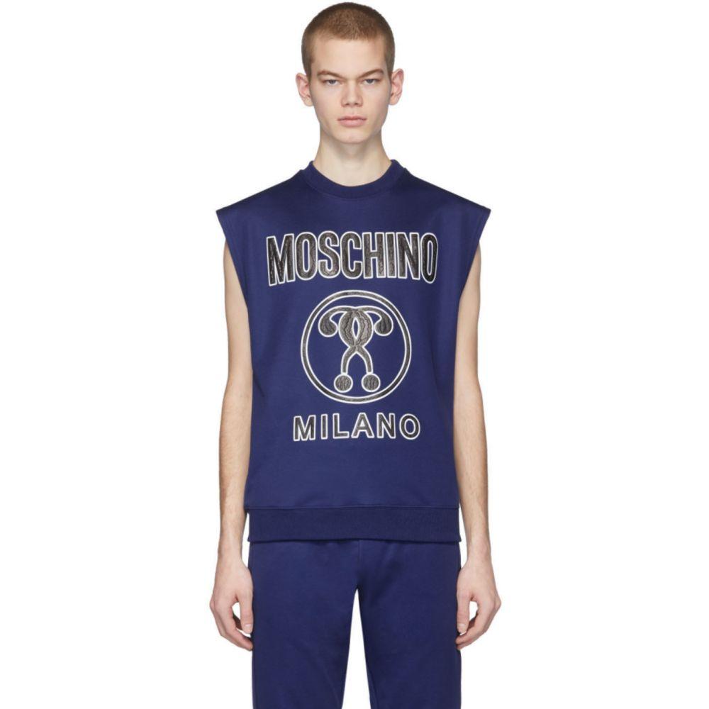 モスキーノ Moschino メンズ ノースリーブ トップス【Blue Logo Sleeveless T-Shirt】Blue