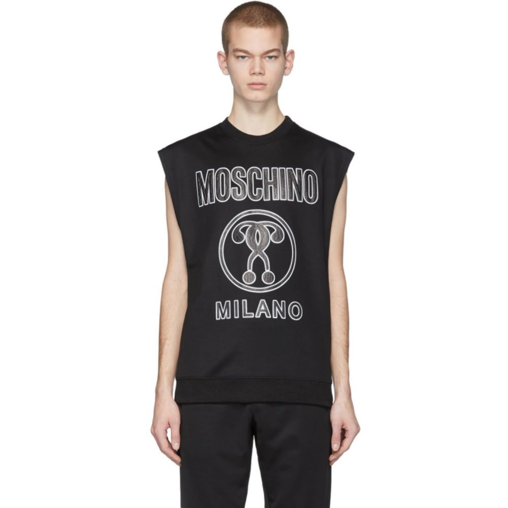 モスキーノ Moschino メンズ ノースリーブ トップス【Black Logo Sleeveless T-Shirt】Black