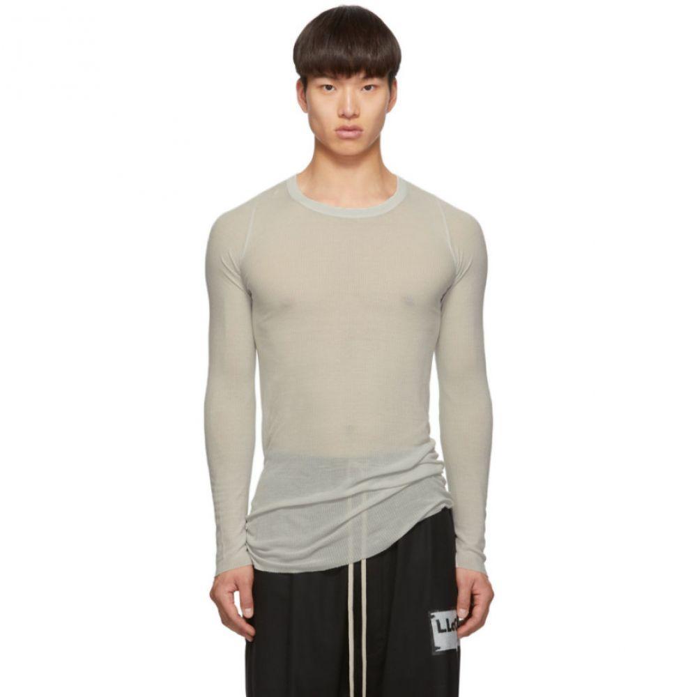 リック オウエンス Rick Owens メンズ 長袖Tシャツ トップス【Grey Rib Long Sleeve Rib T-Shirt】Oyster