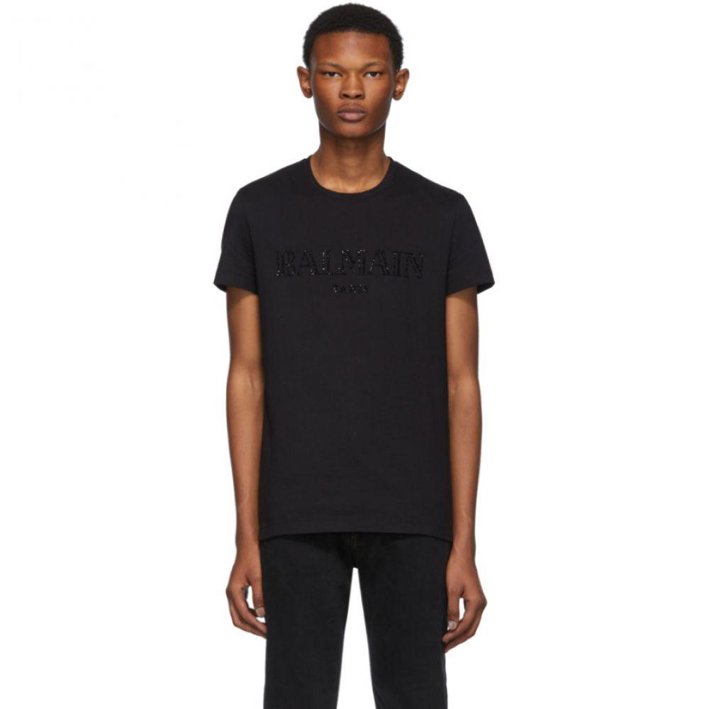 バルマン Balmain メンズ Tシャツ トップス【Black Glass Embroidered T-Shirt】Black
