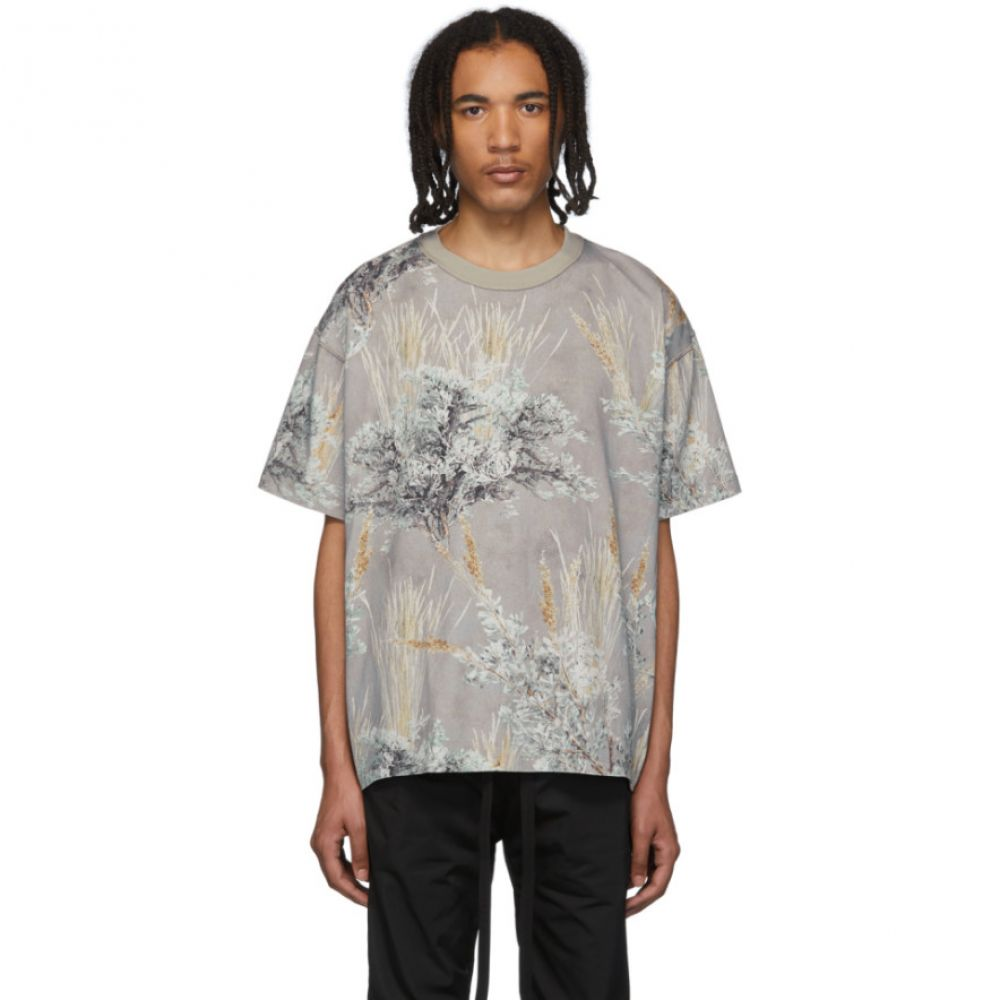 フィアオブゴッド Fear of God メンズ Tシャツ トップス【Grey Printed Short Sleeve T-Shirt】Prairie ghost camo