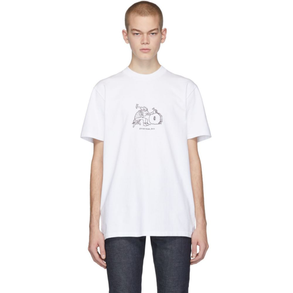アーペーセー A.P.C. メンズ Tシャツ トップス【White JJJJound Edition Rough T-Shirt】Blanc