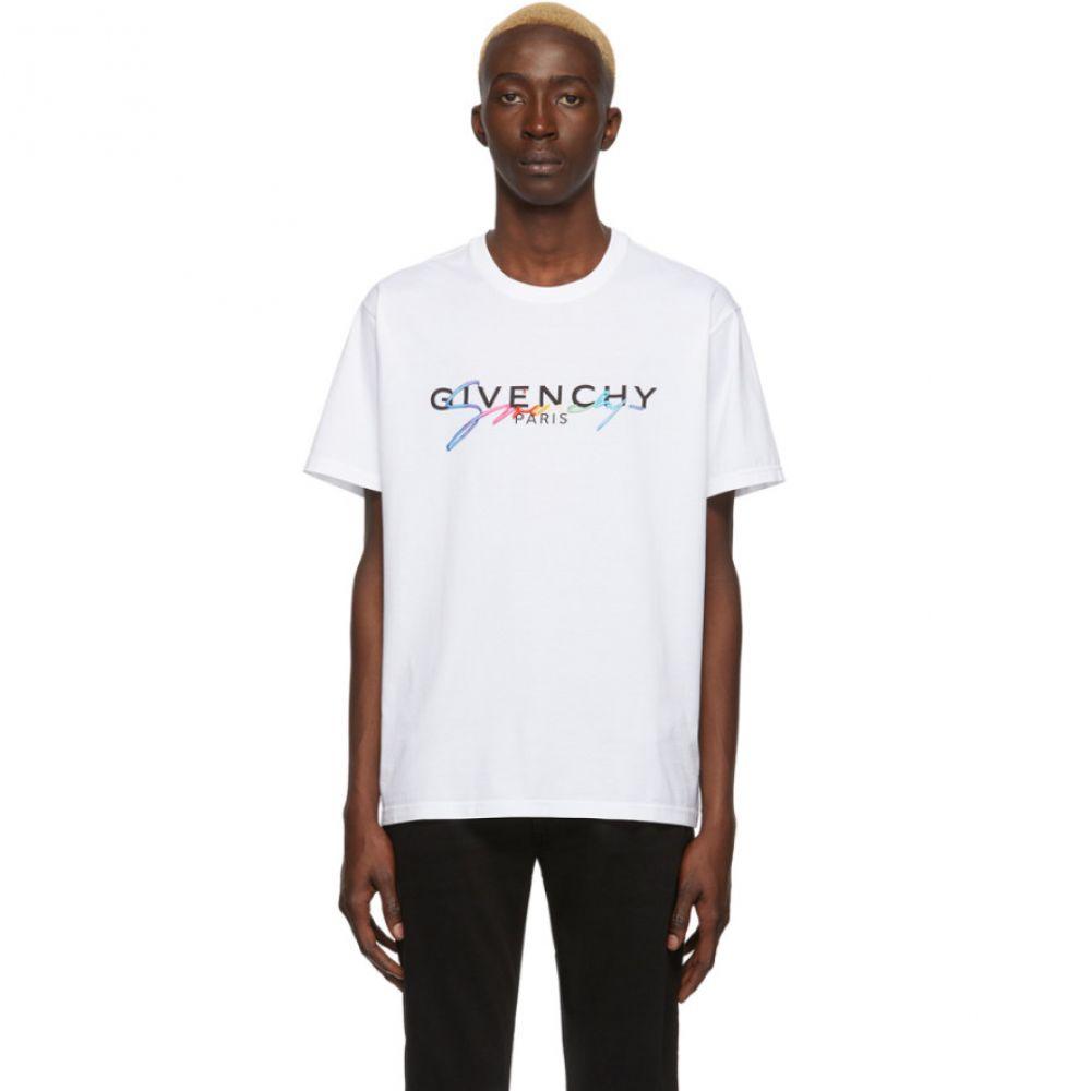 ジバンシー Givenchy メンズ Tシャツ トップス【White Signature Logo T-Shirt】White