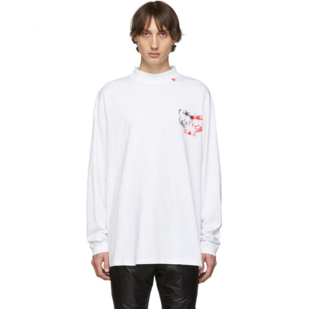 オフホワイト Off-White メンズ Tシャツ トップス【White Halftone Faces Mock T-Shirt】White/Multicolor