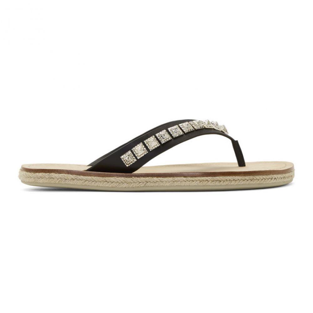 クリスチャン ルブタン Christian Louboutin メンズ ビーチサンダル シューズ・靴【Black Pyraclos Flip Flops】Black/Silver