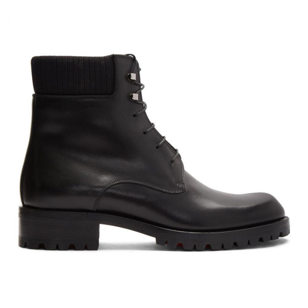 クリスチャン ルブタン Christian Louboutin メンズ ブーツ シューズ・靴【Black Calfskin Trapman 20 Crosta Wax Boots】Black