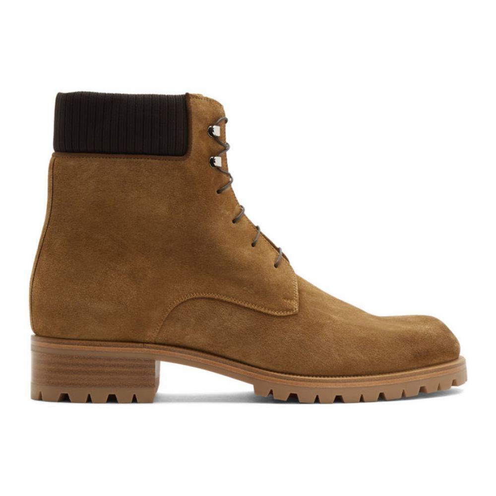 クリスチャン ルブタン Christian Louboutin メンズ ブーツ シューズ・靴【Brown Suede Trapman 20 Crosta Wax Boots】Terra