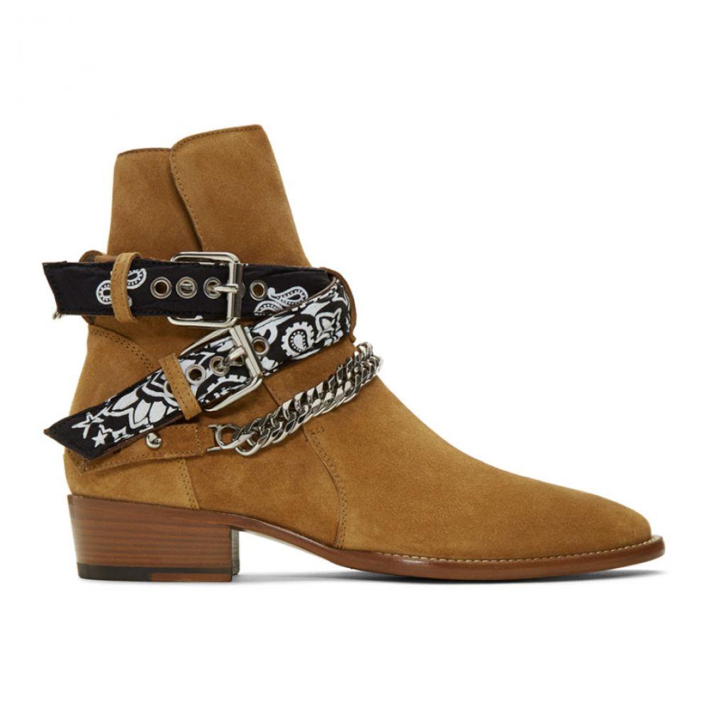 アミリ Amiri メンズ ブーツ シューズ・靴【Brown Suede Bandana Buckle Boots】Brown