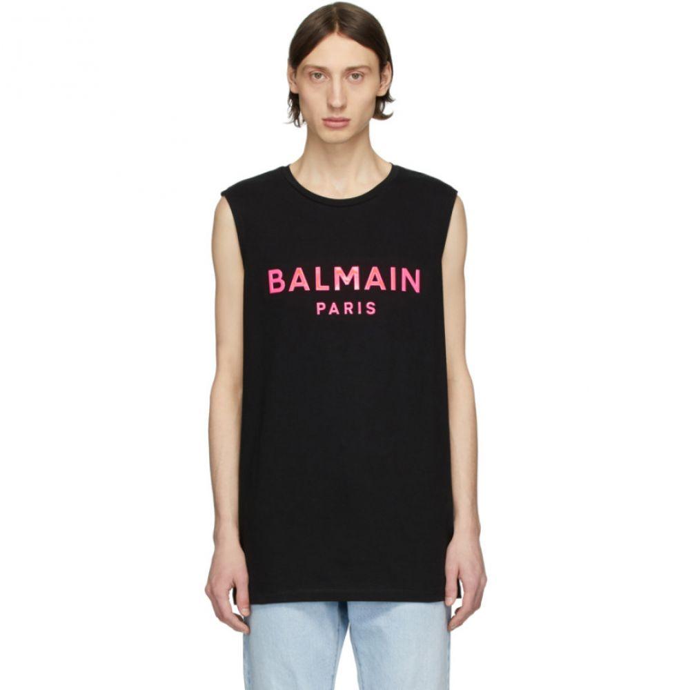 バルマン Balmain メンズ タンクトップ トップス【Black & Pink Silicone Logo Tank Top】Black/Pink