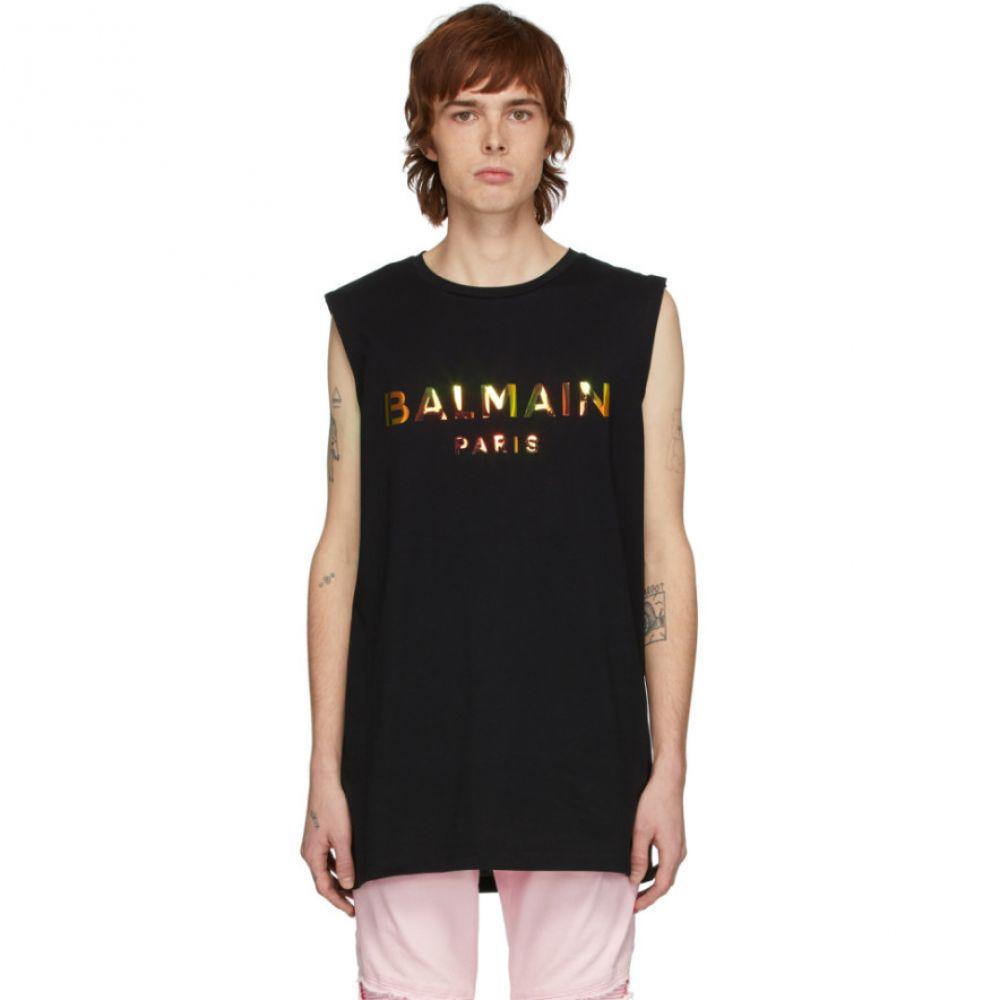 バルマン Balmain メンズ タンクトップ トップス【Black Hologramme Logo Tank Top】Black/Hologramme