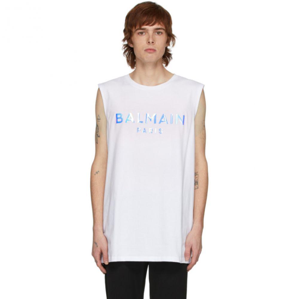 バルマン Balmain メンズ タンクトップ トップス【White Hologramme Logo Tank Top】WHite/Hologramme