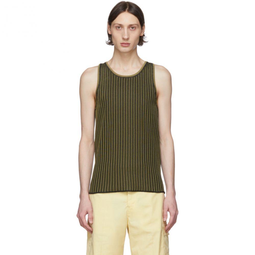 サルヴァトーレ フェラガモ Salvatore Ferragamo メンズ タンクトップ トップス【Black & Beige Rib Knit Tank Top】Vert