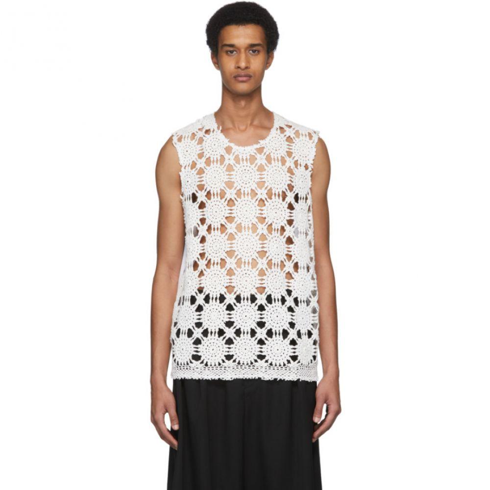 コム デ ギャルソン Comme des Garcons Homme Plus メンズ タンクトップ トップス【White Vintage Crochet Tank Top】White