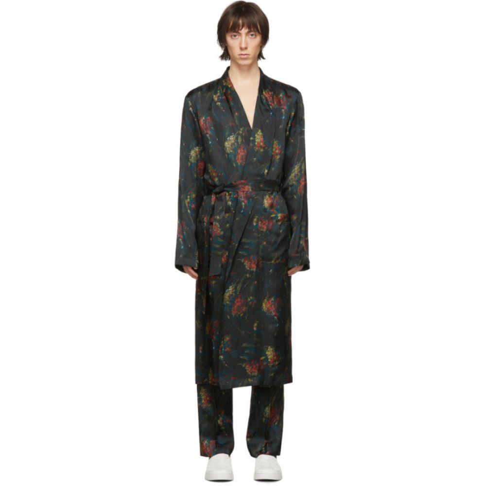 ドリス ヴァン ノッテン Dries Van Noten メンズ ガウン・バスローブ インナー・下着【Multicolor Satin Floral Robe】Black