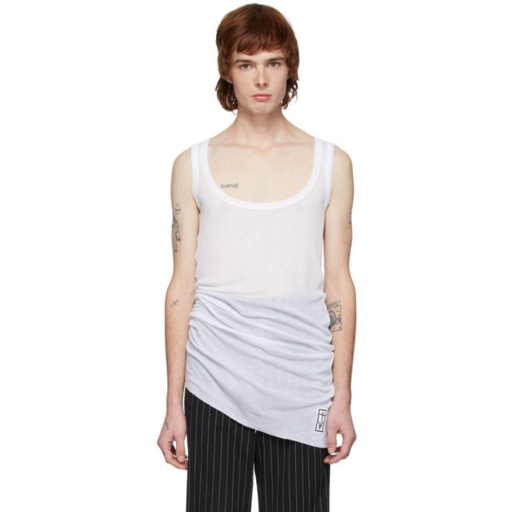 アンドゥムルメステール Ann Demeulemeester メンズ タンクトップ トップス【White Aura Rigatino Tank Top】Aura white