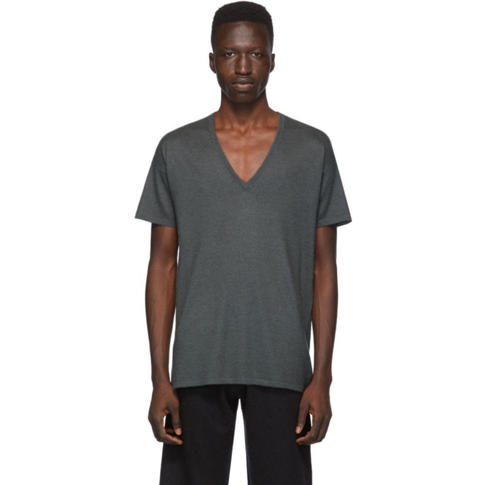 フレンケンバーガー Frenckenberger メンズ Tシャツ Vネック トップス【Grey Cashmere V-Neck T-Shirt】Gun