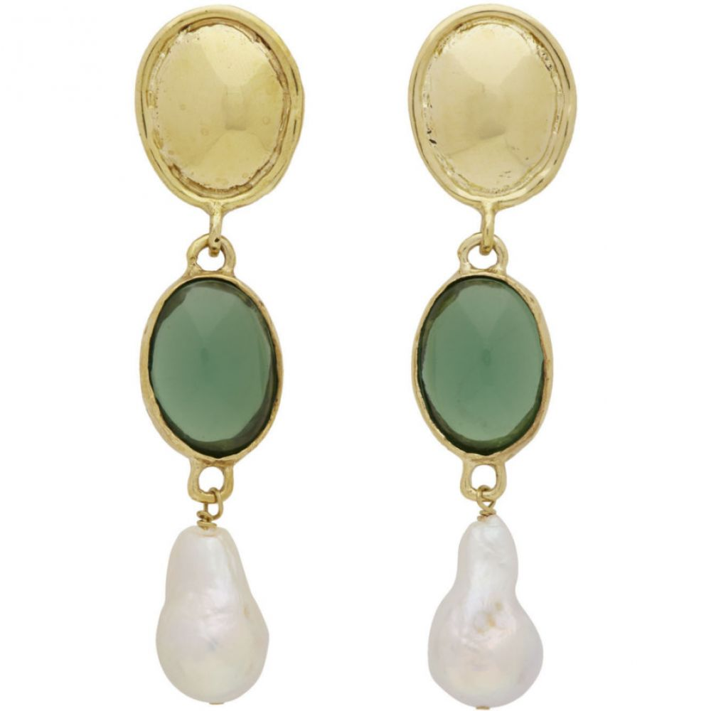 モンドモンド Mondo Mondo レディース イヤリング・ピアス ジュエリー・アクセサリー【Gold & Green Sirena Earrings】Green