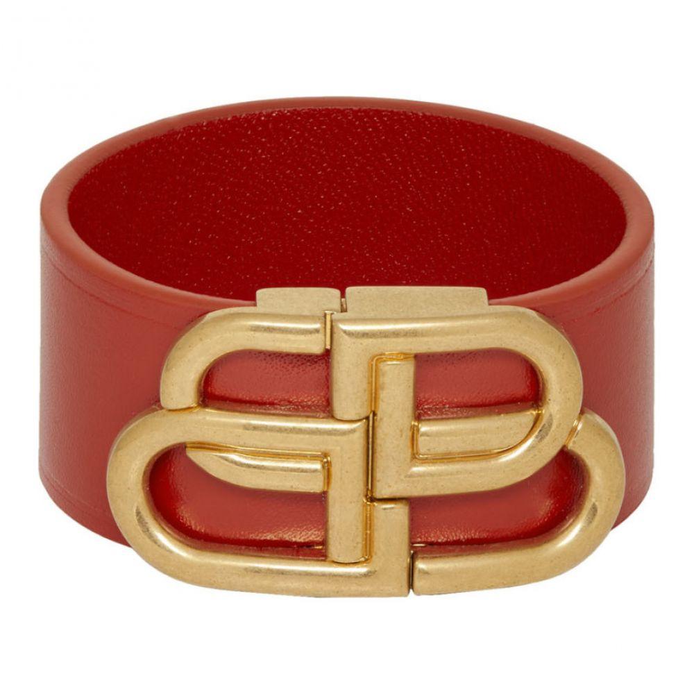 バレンシアガ Balenciaga レディース ブレスレット ジュエリー・アクセサリー【Red Leather BB Bracelet】Bright red