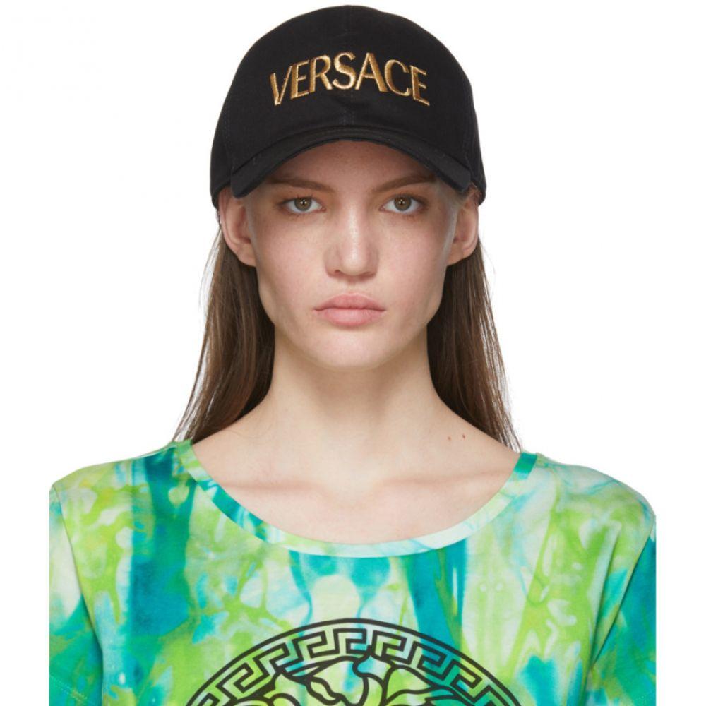 ヴェルサーチ Versace レディース キャップ 帽子【Black & Gold Embroidered Logo Cap】Black