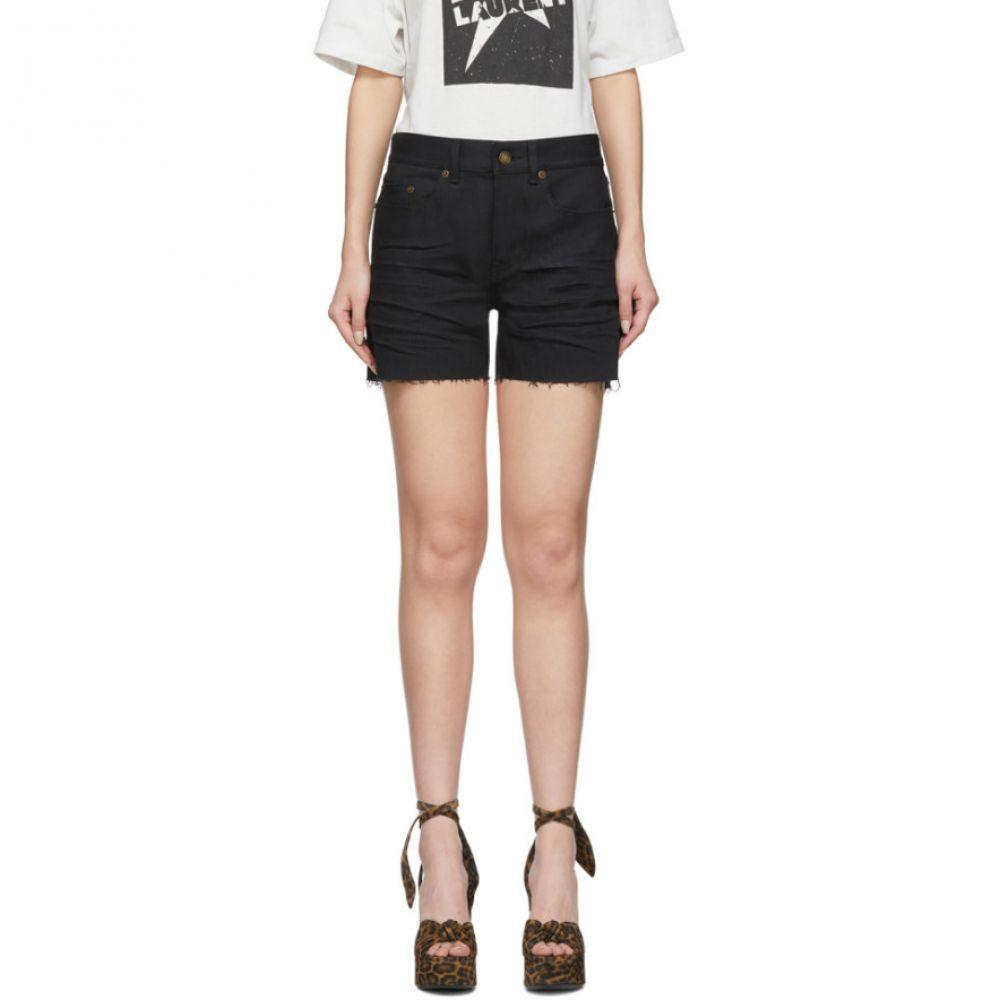 イヴ サンローラン Saint Laurent レディース ショートパンツ デニム ボトムス・パンツ【Black Denim Frayed Shorts】Black