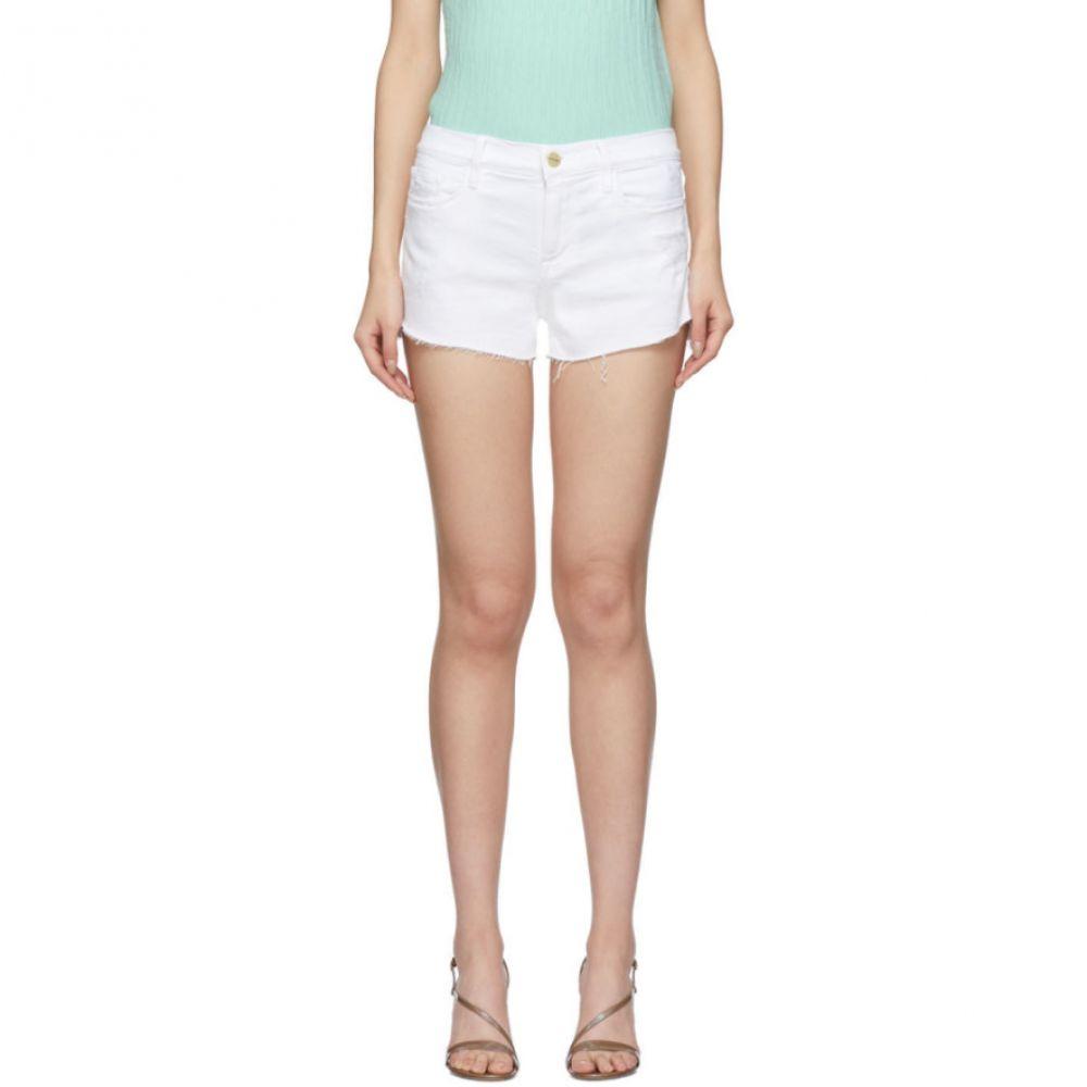 フレーム Frame レディース ショートパンツ デニム ボトムス・パンツ【White Denim 'Le Cutoff' Tulip Hem Shorts】Blanc
