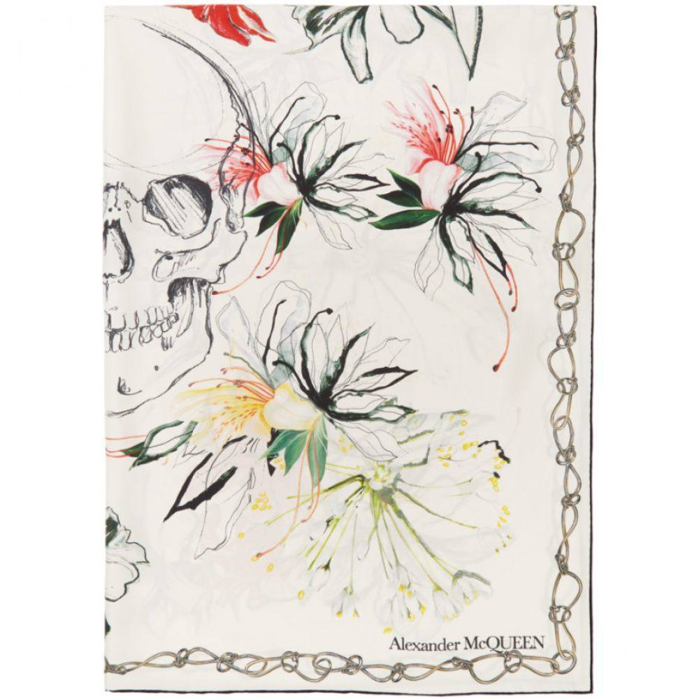 アレキサンダー マックイーン Alexander McQueen レディース マフラー・スカーフ・ストール 【White Silk Endangered Flowers Scarf】Ivory/Red