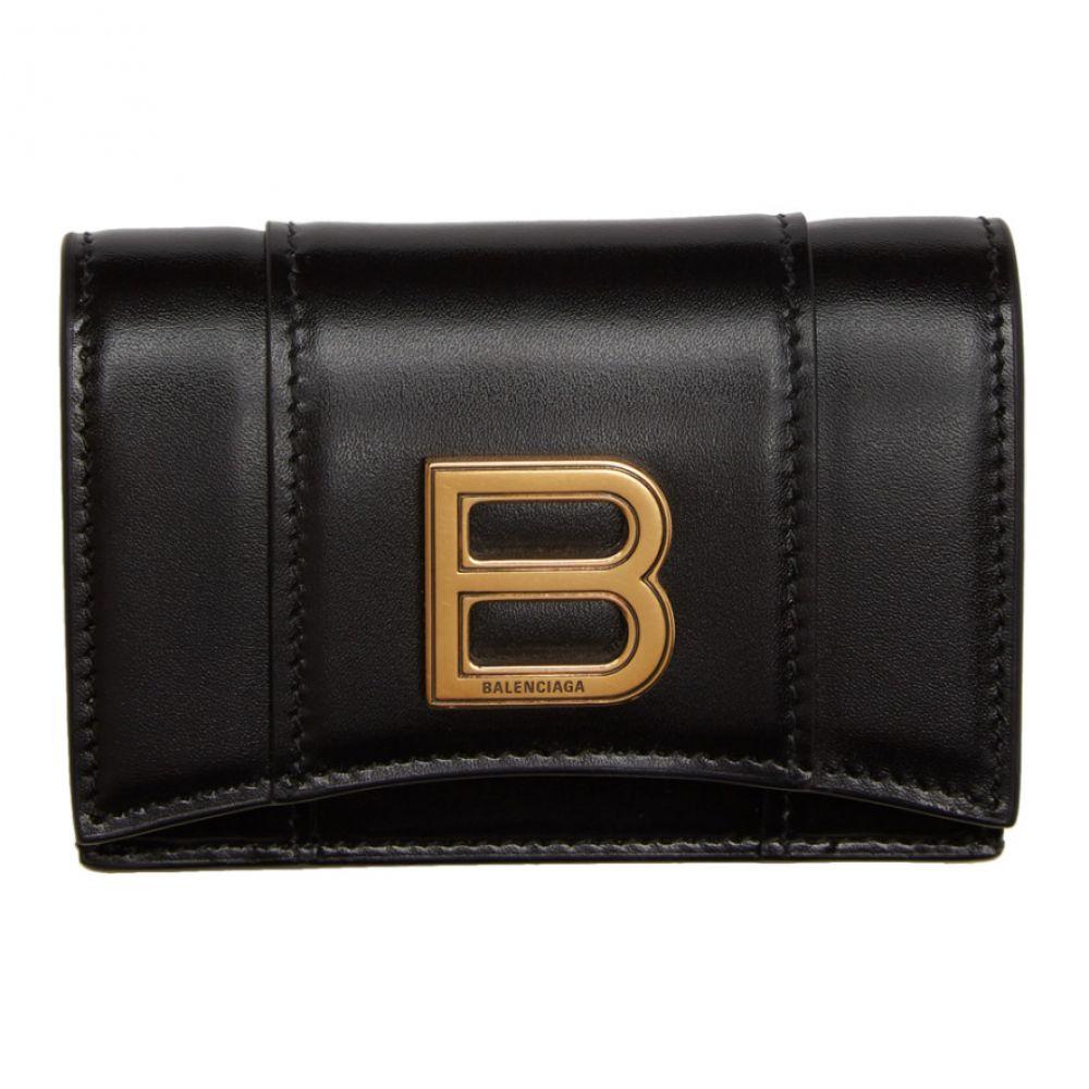 バレンシアガ Balenciaga レディース 財布 【Black Mini Hourglass Wallet】Black