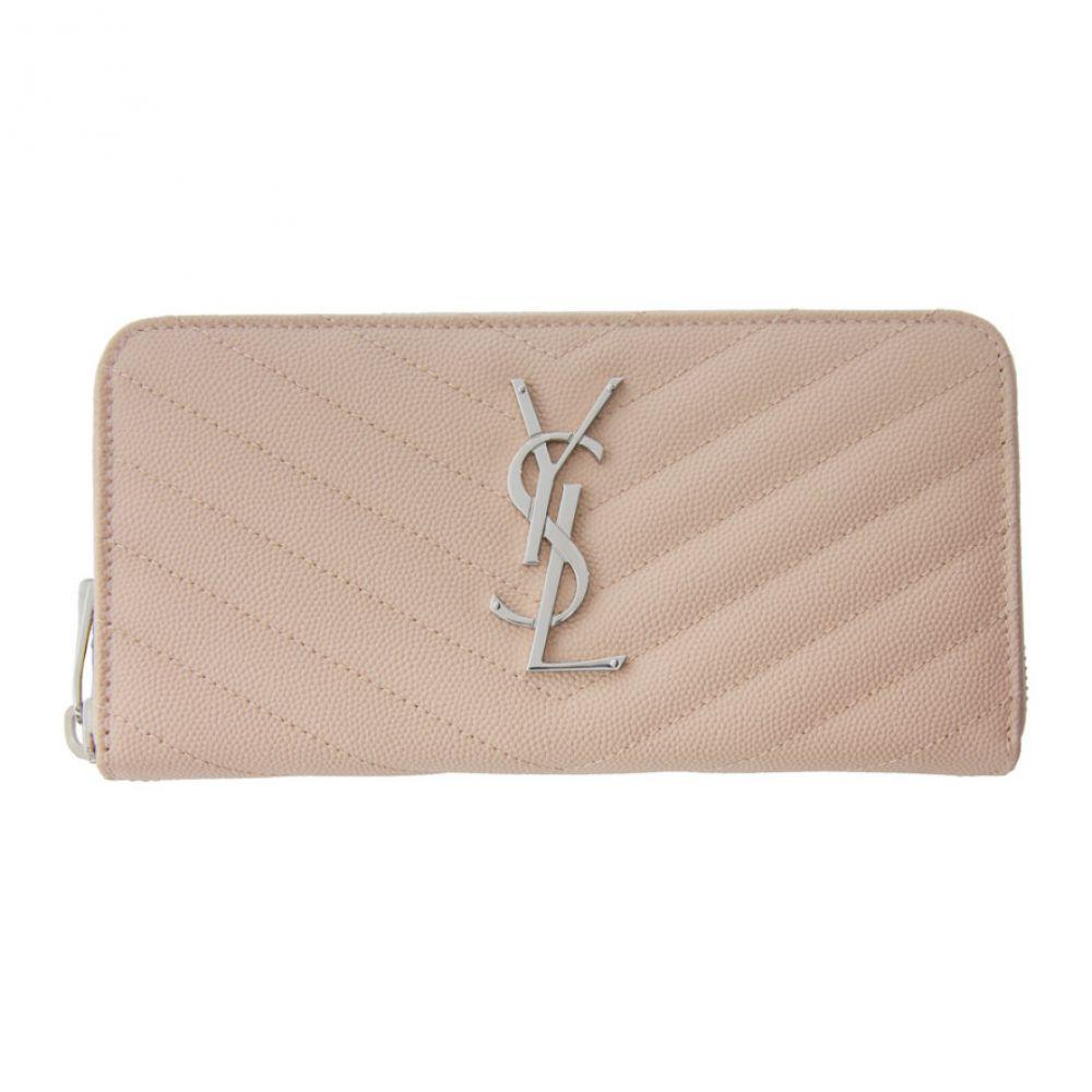 イヴ サンローラン Saint Laurent レディース 財布 【Pink Monogramme Zip Around Wallet】Marble