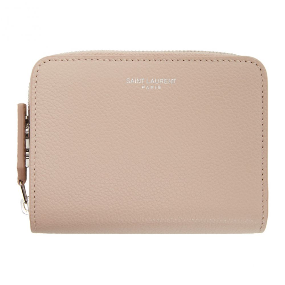 イヴ サンローラン Saint Laurent レディース 財布 【Pink Rive Gauche Compact Zip Around Wallet】Marble