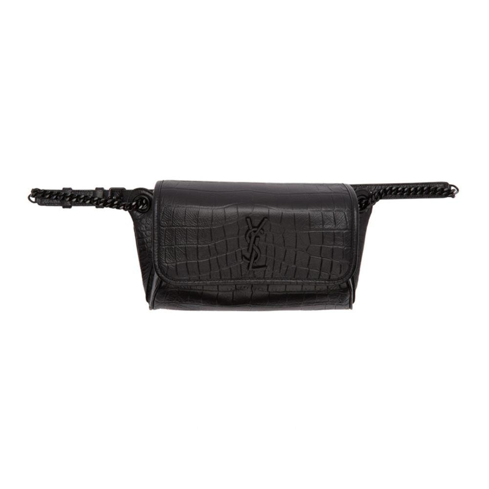 イヴ サンローラン Saint Laurent レディース ボディバッグ・ウエストポーチ バッグ【Black Croc Niki Belt Bag】Black