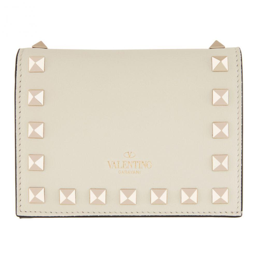 ヴァレンティノ Valentino レディース 財布 【Off-White Garavani Rockstud Flat French Wallet】Ivory