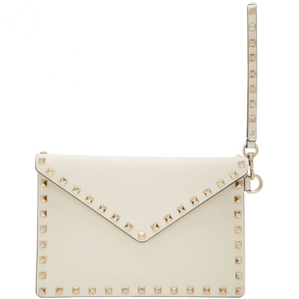 ヴァレンティノ Valentino レディース ポーチ 【Off-White Garavani Medium Rockstud Flat Pouch】Ivory