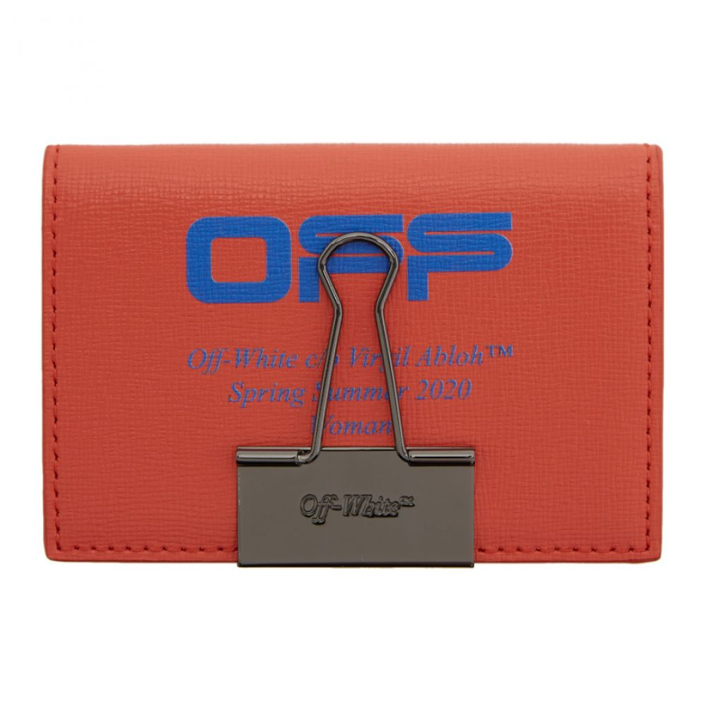 オフホワイト Off-White レディース カードケース・名刺入れ 二つ折り カードホルダー【Red & Blue Logo Bifold Card Holder】Red/Blue