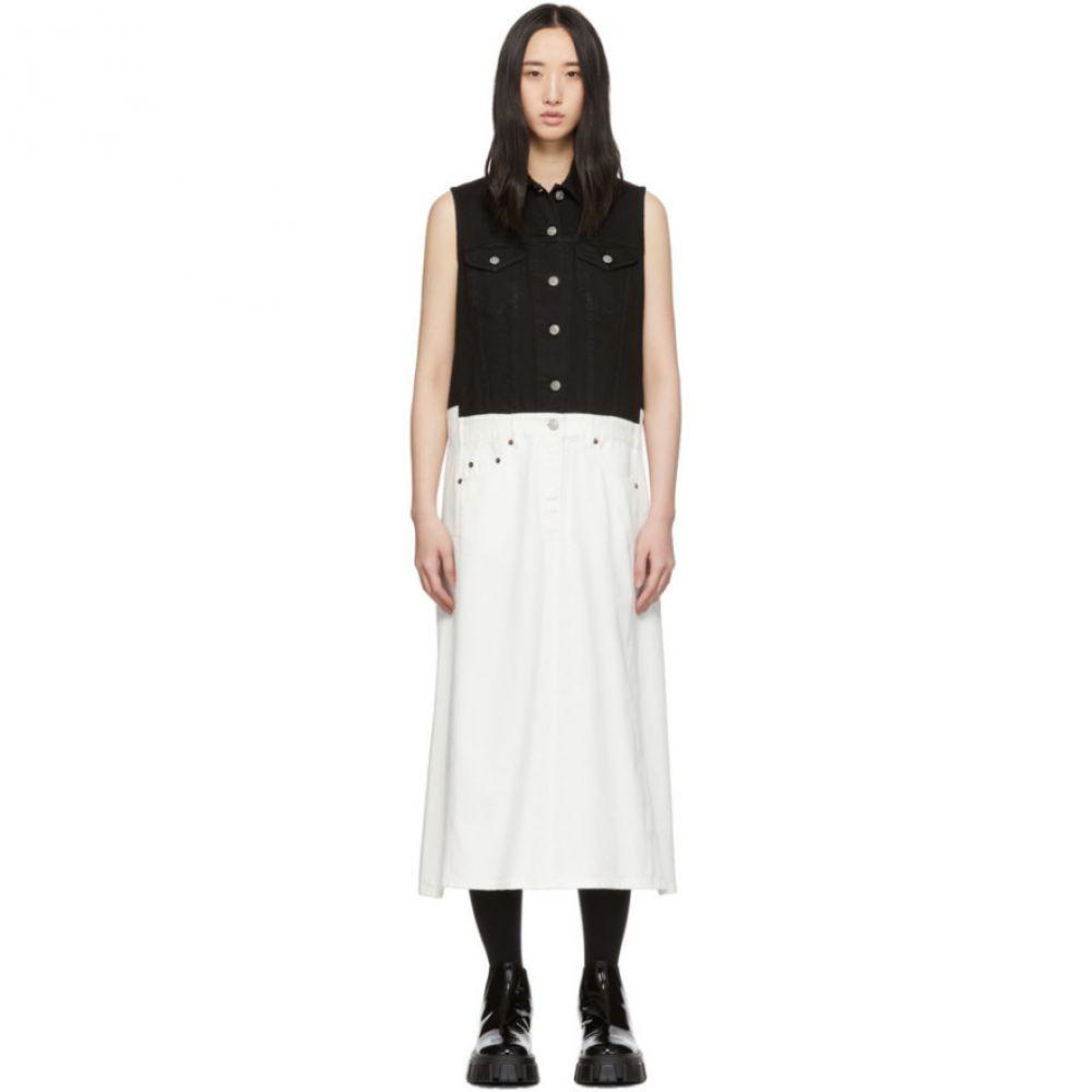 メゾン マルジェラ MM6 Maison Margiela レディース ワンピース デニム ワンピース・ドレス【White Denim Bi-Color Dress】White/Black