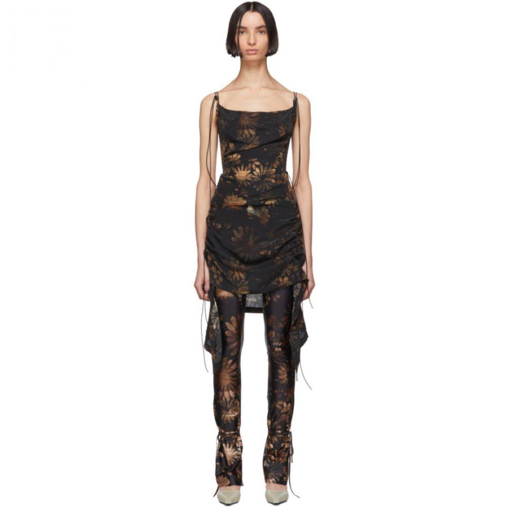 シャーロッテ ノウルズ Charlotte Knowles レディース ワンピース ワンピース・ドレス【SSENSE Exclusive Black & Beige Coil Short Dress】Dark floral