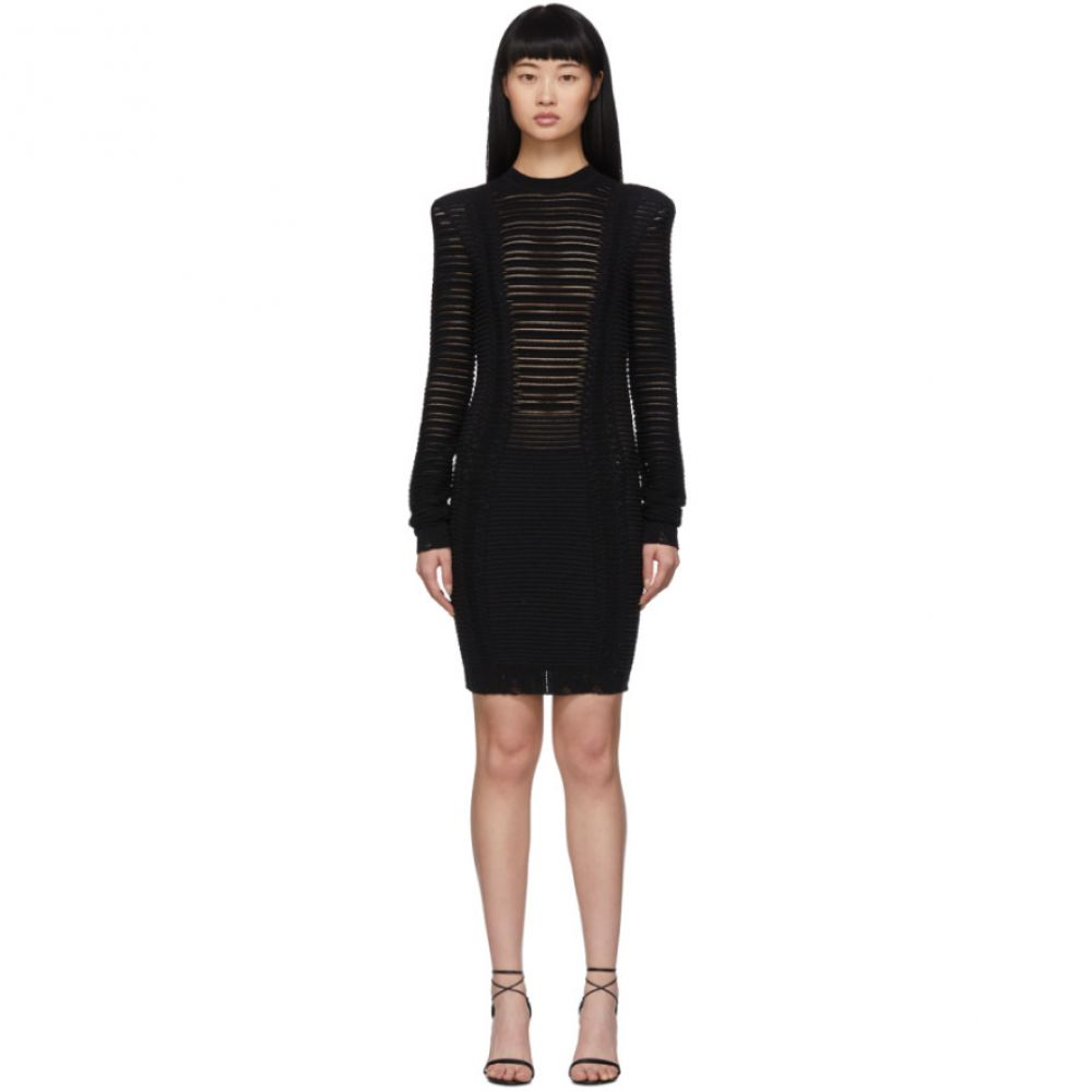 バルマン Balmain レディース ワンピース ワンピース・ドレス【Black Transparent Stripe Dress】Black
