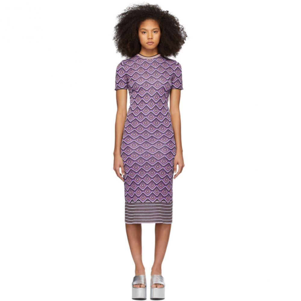 パコラバンヌ Paco Rabanne レディース ワンピース ワンピース・ドレス【Purple Jacquard Stripes Dress】Purple