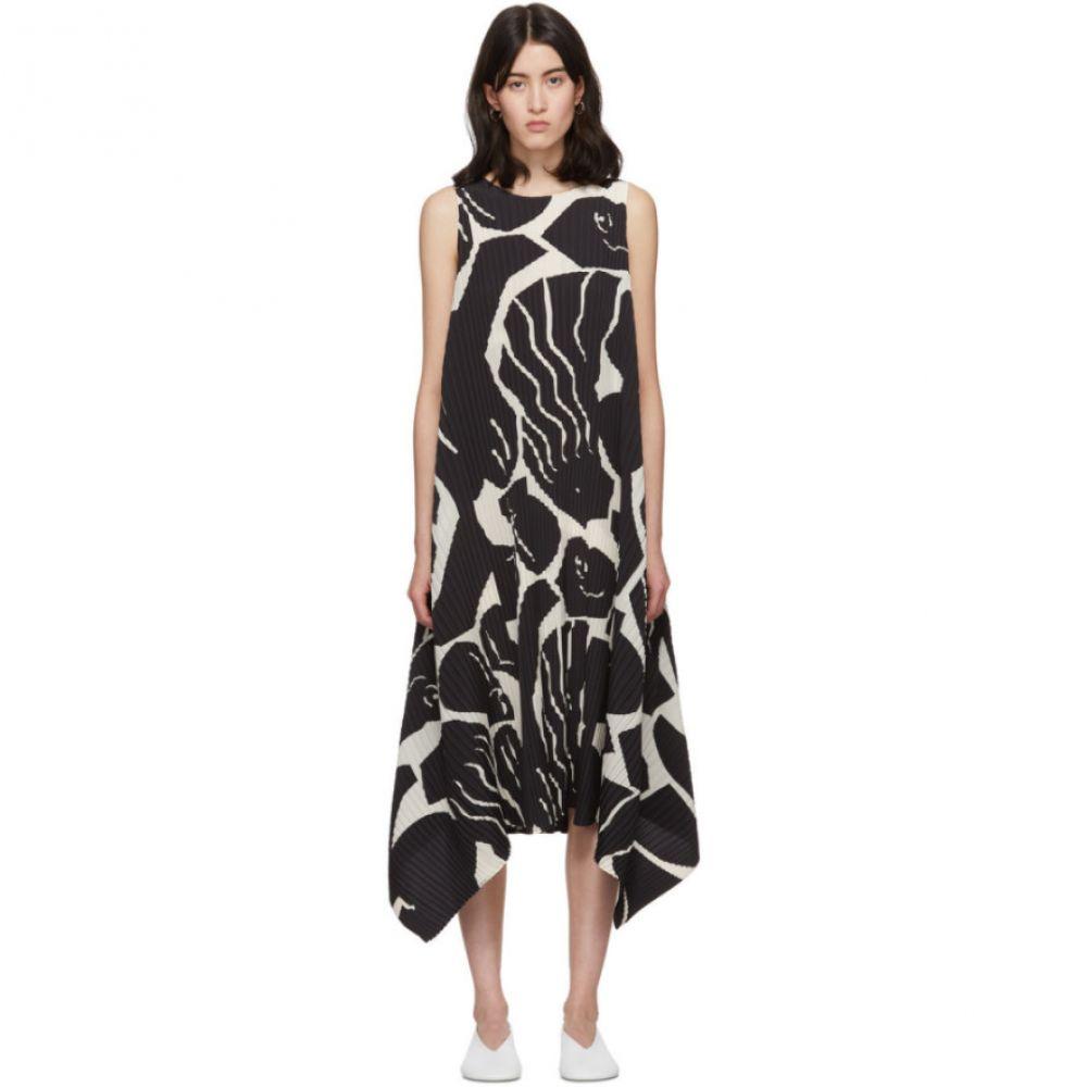 イッセイ ミヤケ Issey Miyake レディース ワンピース ワンピース・ドレス【Black & White Cuddle Pleats Dress】Black hue