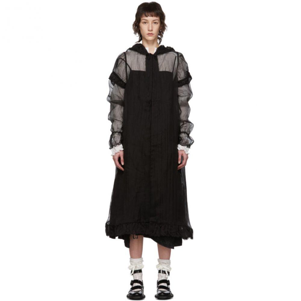 レンリ スー Renli Su レディース コート フード アウター【Black Silk Sheer Hooded Coat】Black