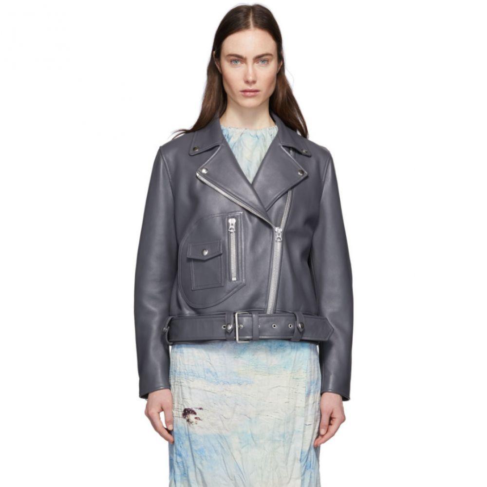 アクネ ストゥディオズ Acne Studios レディース レザージャケット アウター【Grey Leather New Merlyn Jacket】Steel grey