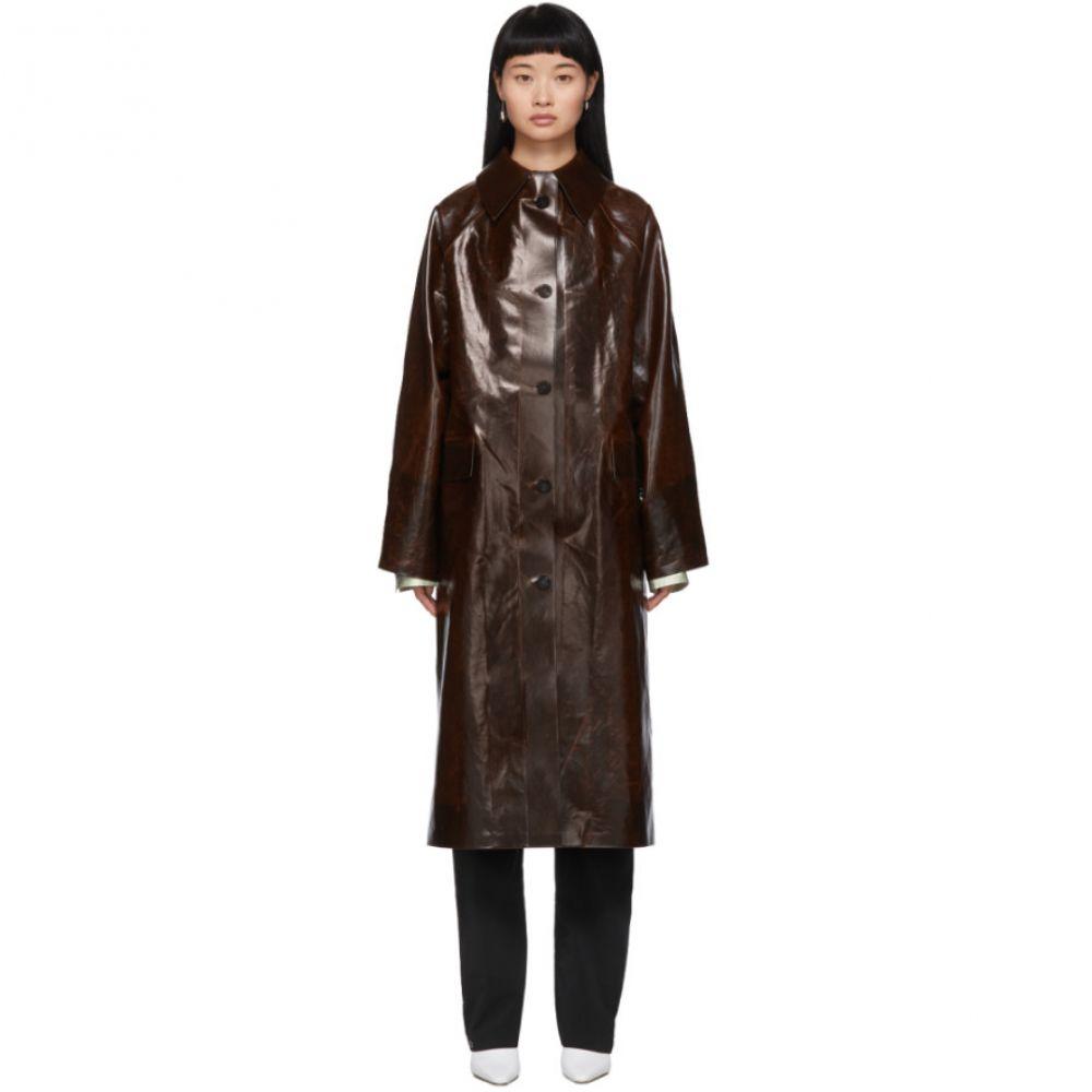 カッスル エディションズ Kassl Editions レディース トレンチコート アウター【Brown Coated Skai Trench Coat】Dark brown