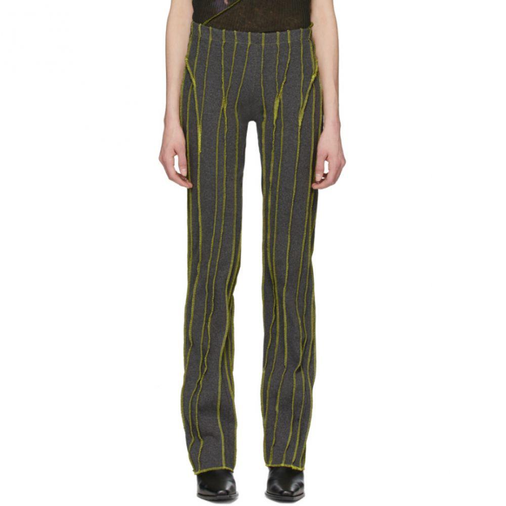 ヘレナマンツァーノ Helenamanzano レディース スウェット・ジャージ ボトムス・パンツ【SSENSE Exclusive Green & Grey 3D Stripe Lounge Pants】Grey/Green